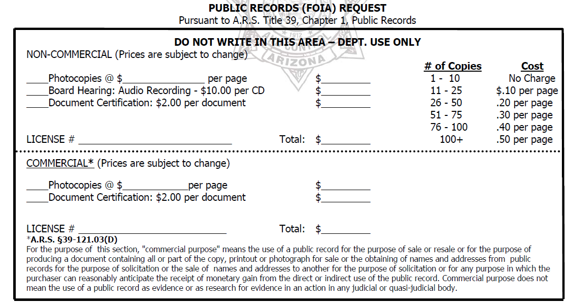 FOIA charges